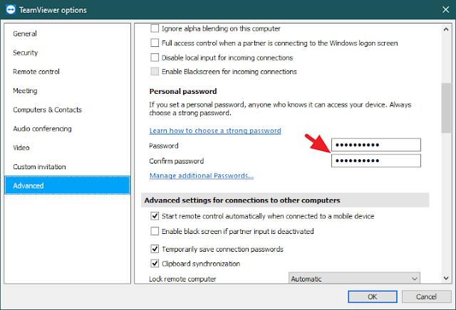 Cara Setting Password TeamViewer Terbaru Agar Tidak Berubah-Ubah