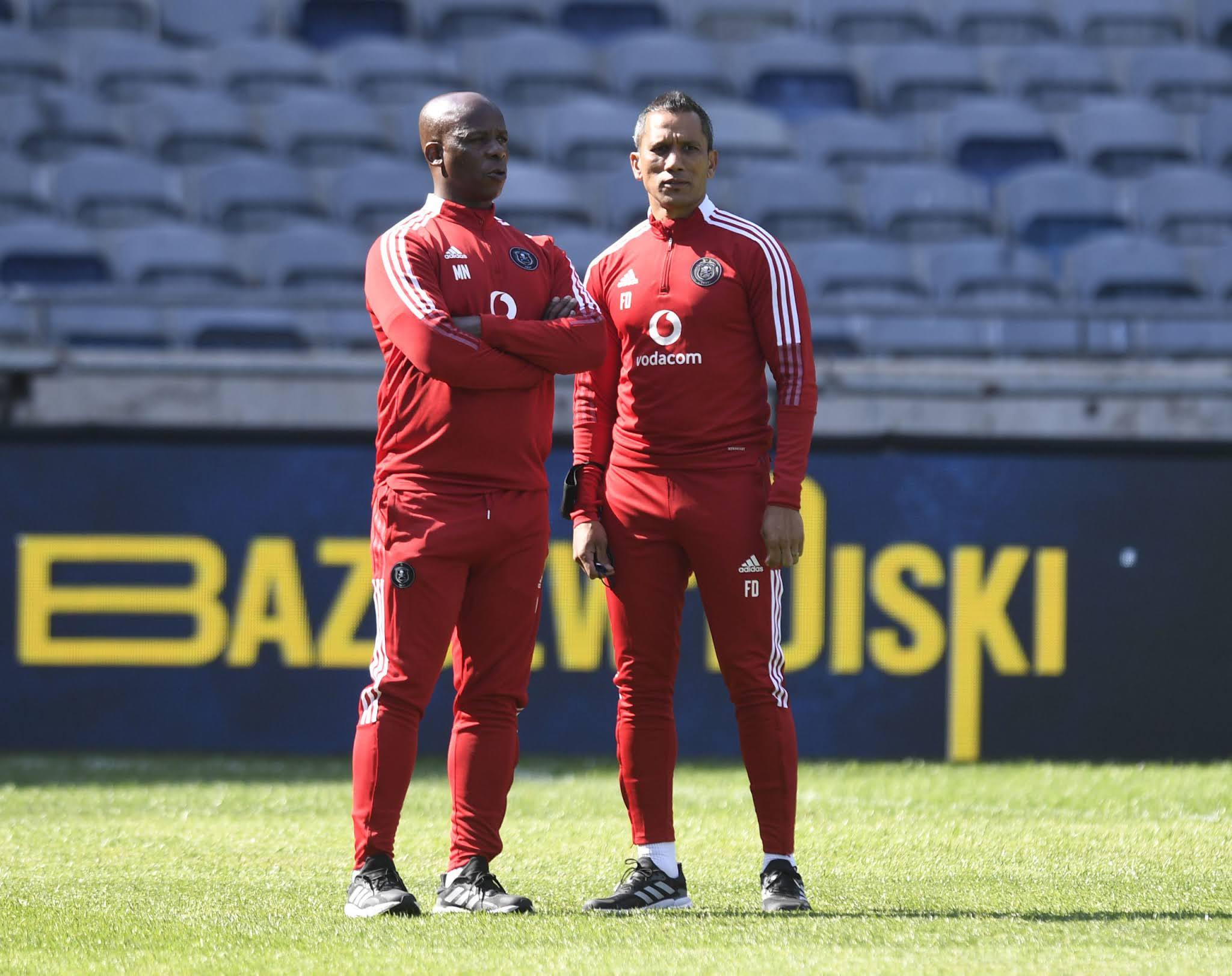 Orlando Pirates interim co-coaches Mandla Ncikazi and Fadlu Davids