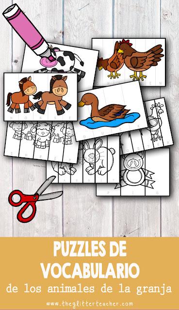 Puzzle de vocabulario clave de los animales de la granja para recortar, colorear y leer en el aula de inglés de educación infantil y educación primaria. Recurso imprimible para descargar gratis