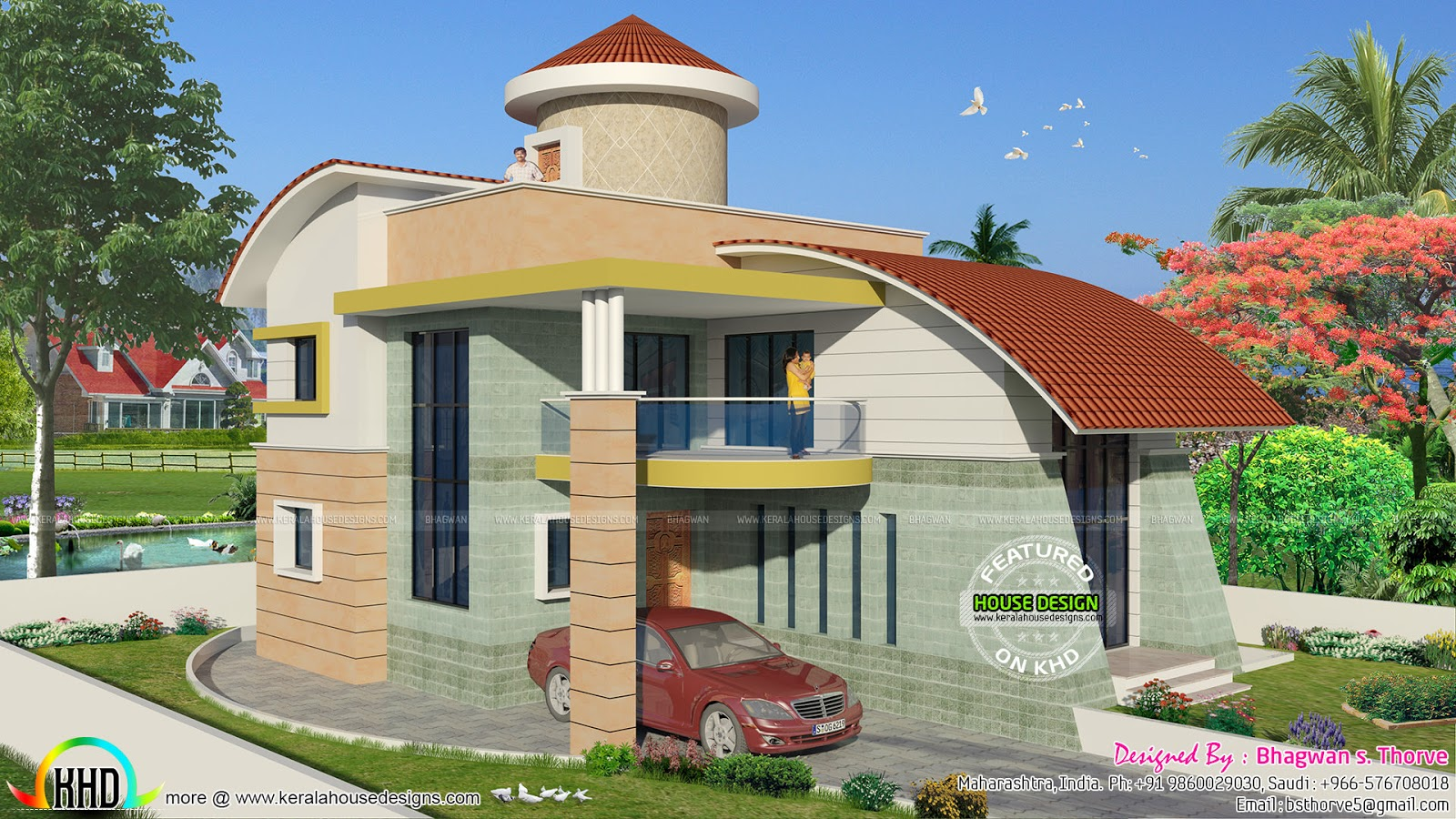 Kerala Home Design 900 Sq Feet Part - 22: Square Feet Details. Ground Floor Area : 1180 Sq.ft. First Floor Area : 900  Sq.ft. Total Area : 2080 Sq.ft. No. Of Bedrooms : 4. Design Style : Modern