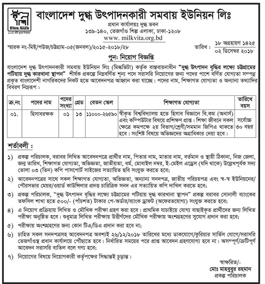 Bangladesh Milk Producer's Co-Operative Union Limited Job Circular 2018