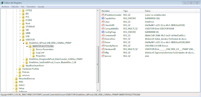 Ejemplo de la rama del Registro de Windows que almacena la inforamción sobre los USB imagen