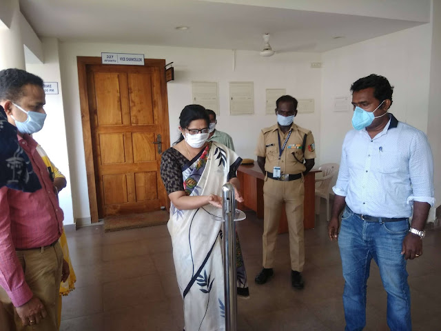 Kottayam RIT College handed over a foot operated sanitizer to KTU