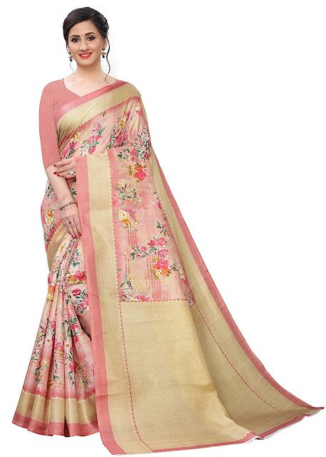 Women's Khadi silk Saree with Blouse Piece