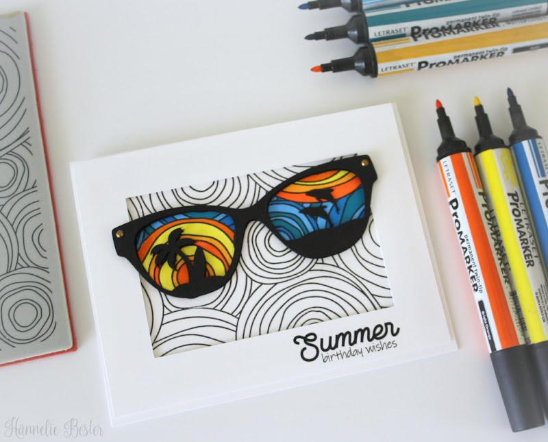 Summer themed birthday card - Simon says stamp doodled circles