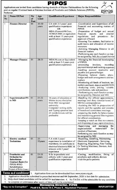 Pakistan Institute of Prosthetic and Orthotic Sciences (PIPOS) Peshawar KPK Jobs 2020 Latest