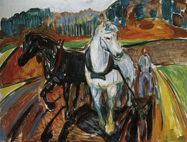 Эдвард Мунк - Упряжка лошадей. 1919
