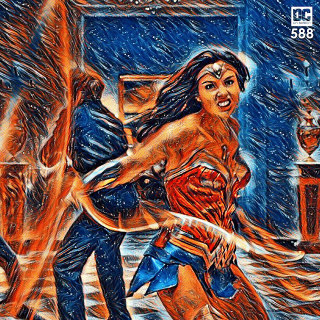 Wonder Woman with her Lasso of Truth. Text: DC on SCREEN 588