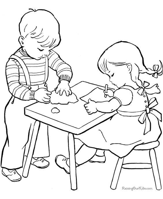 Tranh cho bé tô màu đôi bạn cùng chơi