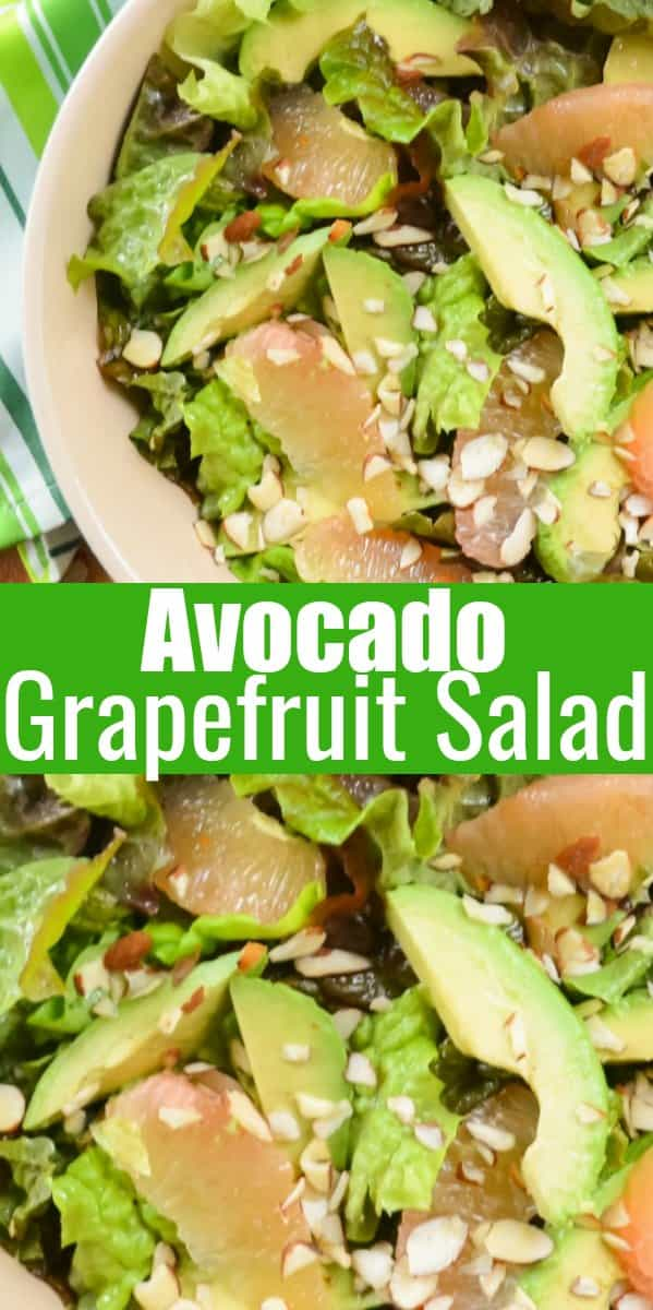 Grapefruit Avocado Salad with Grapefruit White Balsamic Vinaigrette recipe is a great side salad or main dish by adding cooked shrimp or chicken. A fun side salad for Thanksgiving or Christmas from Serena Bakes Simply From Scratch.