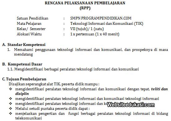 Rpp Tik Kelas 7 Smp Mts Tahun 2019 2020 Websiteedukasi Com