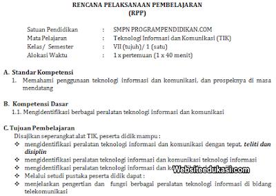 RPP TIK Kelas 7 SMP/MTs Tahun 2019/2020