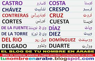 Apellidos en arabe: De la fuente, De la torre, Del rio, Delgado, Diaz, Diez, Dominguez, Duarte