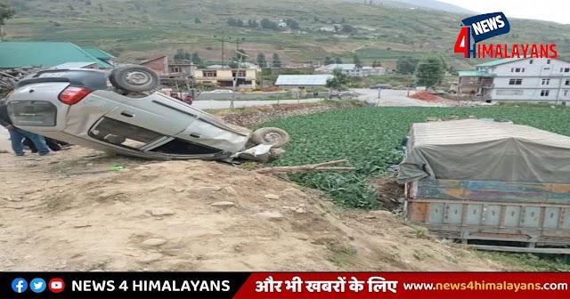 हिमाचल में ट्रक और कार की भीषण टक्कर: एक वाहन खेत में गिरा एक पलटा, ड्राइवर का निधन