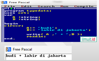 program pascal pengunaan string