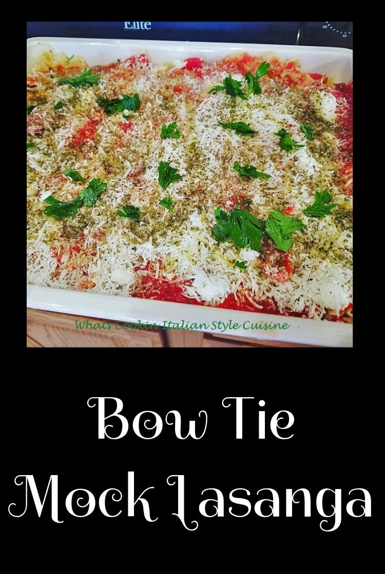 this is a homemade bow tie pasta made into lasagna in one big baking deep lasagna pan. This pasta is baked with ricotta cheese, crushed meatballs and sausage and lots of mozzarella layered and baked.