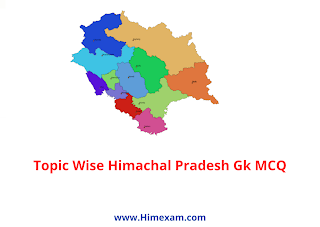 Topic wise Himachal Pradesh GK MCQ PDF