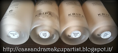 KRIPA - Total Revive Foundation - recensione - review - colore 10 Pocelain - 20 Light Beige - 30 Medium Beige - 40 Honey Beige - inci - prezzo - price - indredienti - indredients - swatch - texture - packaging