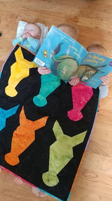 Wonky Donkey quilt with Island Batik fabrics and Aurifil thread