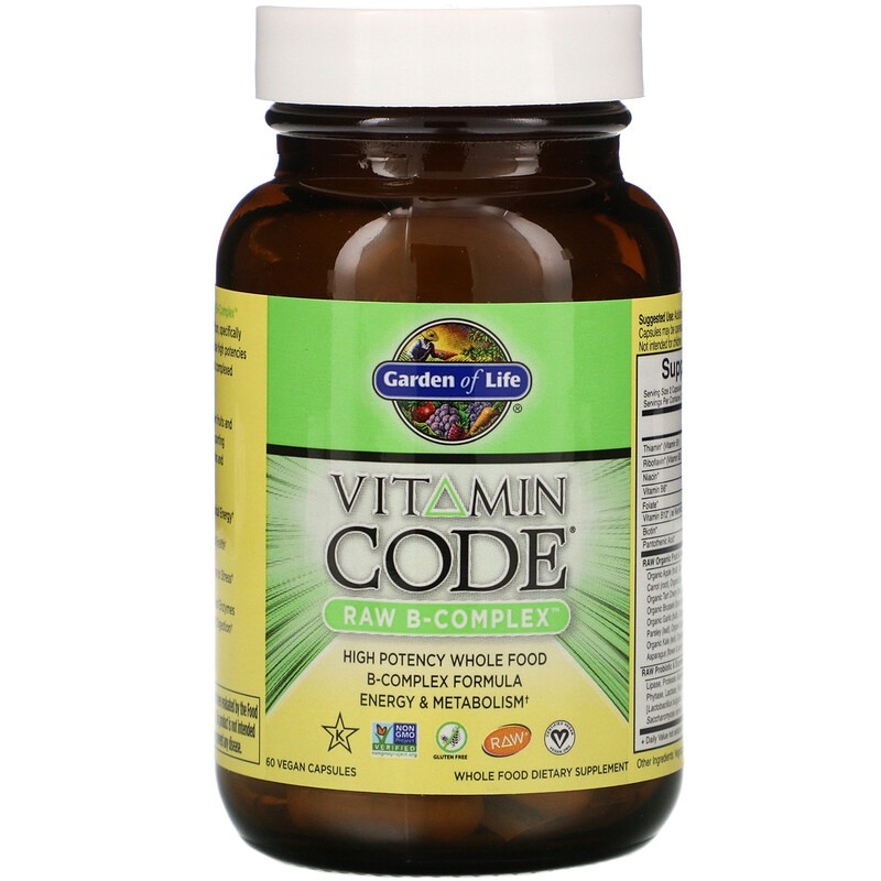 Garden of Life, Vitamin Code, Raw B-Complex, 60 веганских капсул