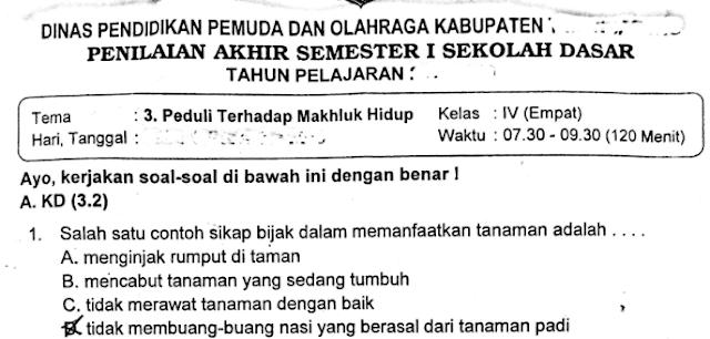 Soal Ulangan Kelas 4 SD/MI Tema ke 3