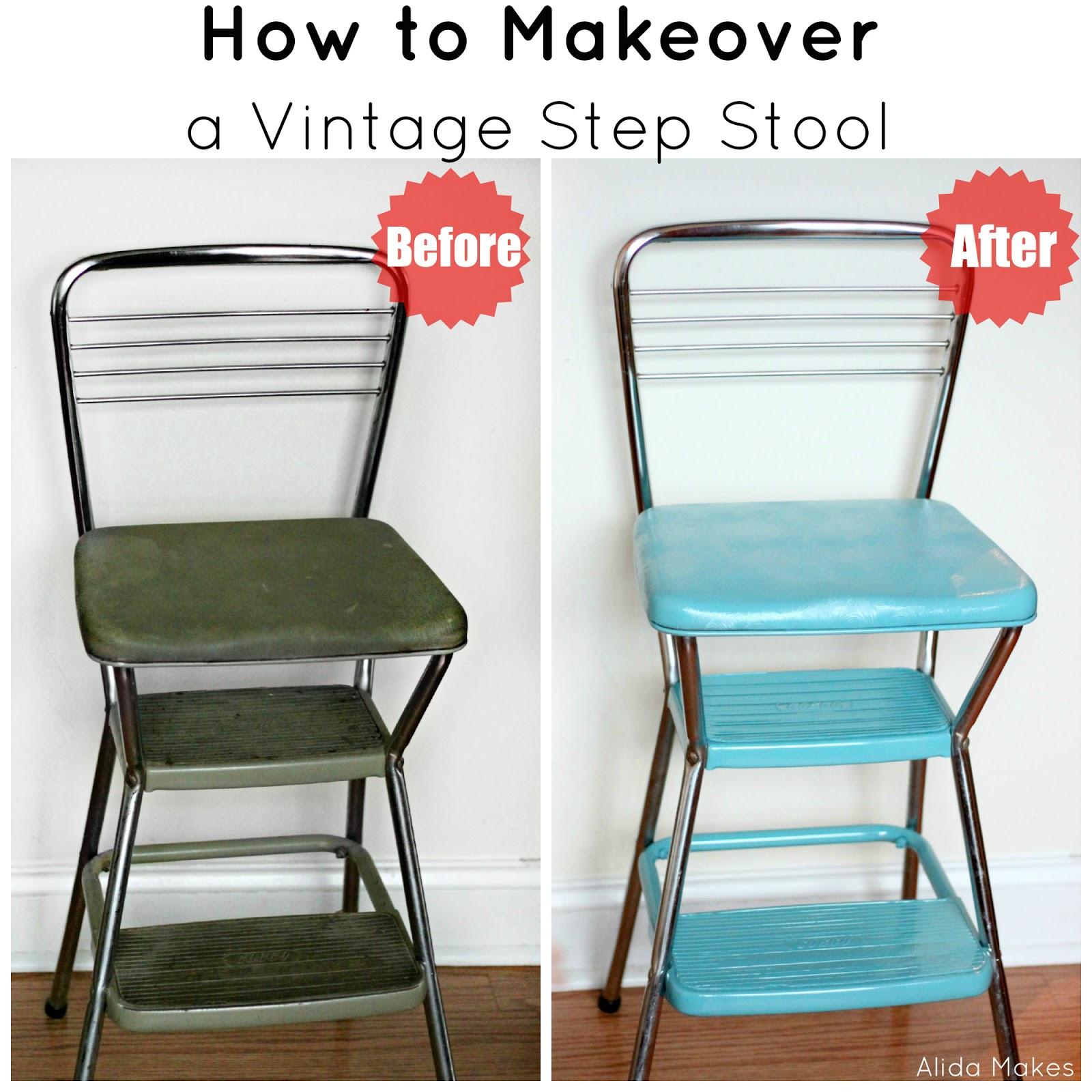 Old Fashioned Kitchen Chair Step Stool Backsplash Tile For Kitchens Vintage Makeover Photo Prop Alida Makes