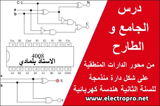 درس الجامع والطارح من محور الدارات المنطقية على شكل دارة منذمجة للاستاذ بلمادي