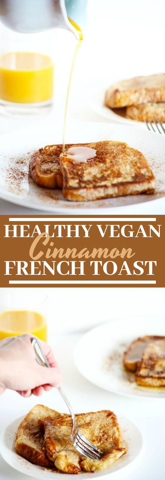Healthy Vegan Cinnamon French Toast #vegan #breakfast