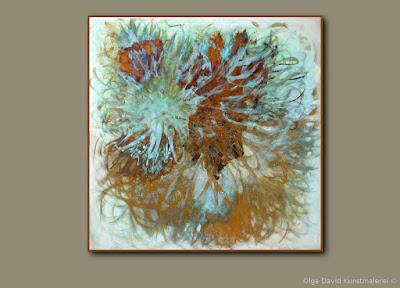 Oxidation Mischtechnik Gemälde 120x120cm für Geschäftsräume