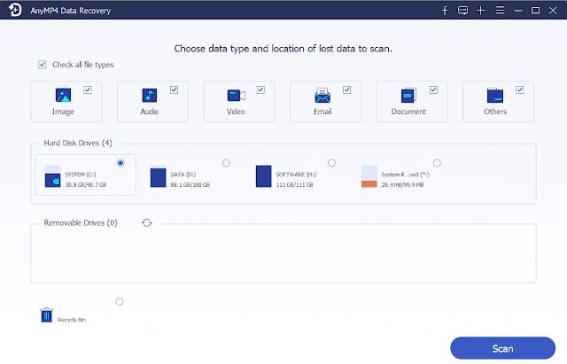 Screenshot AnyMP4 Data Recovery 1.0.10 Full Version