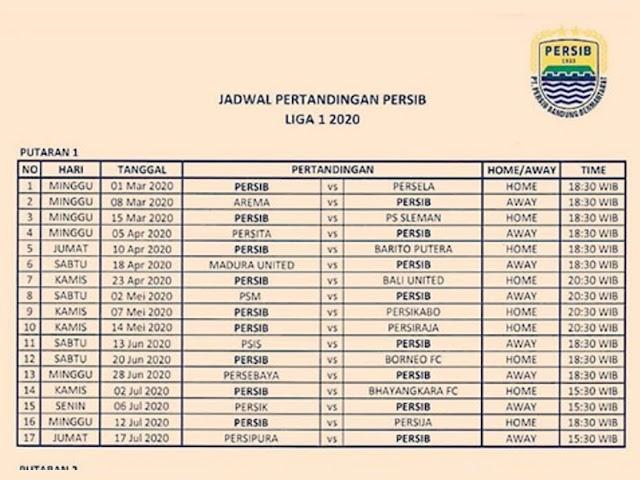 Jadwal Pertandingan Persib di Liga 1 Indonesia 2020 Putaran 1 dan 2
