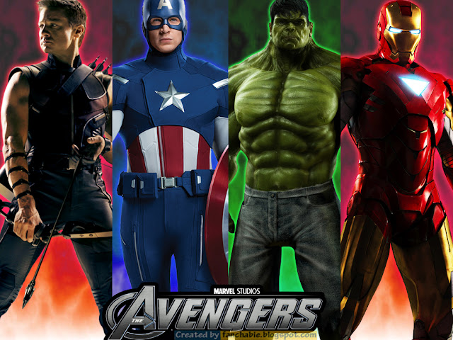Hawk eye, Captain America, Hulk, Iron man