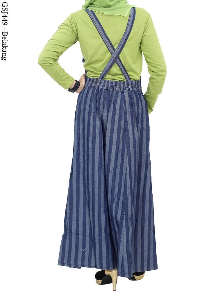 Gsj449 Gamis Overall Maxi Jeans Salur Busana Muslim