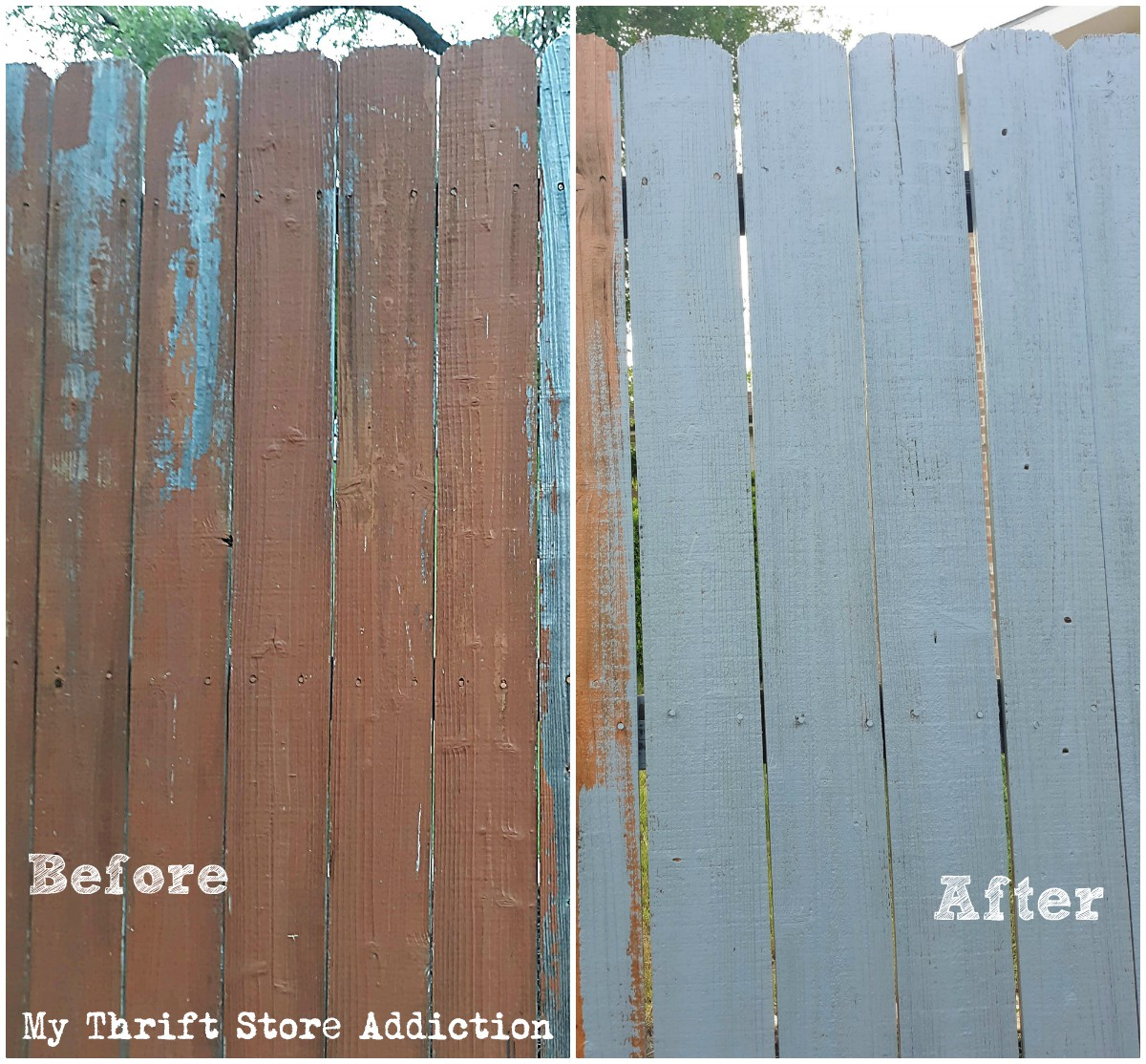DIY gray painted fence and outdoor gallery wall