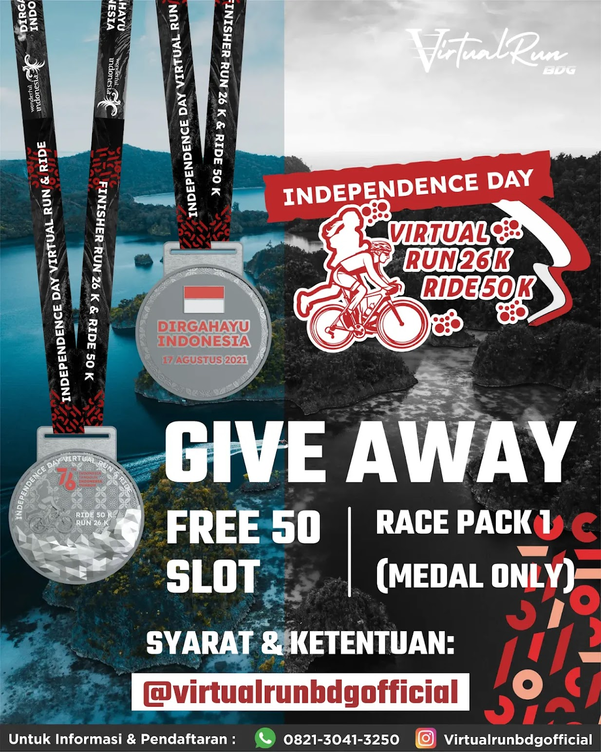 Giveaway Virtual Run & Ride Indonesia's Independence Day • 2021