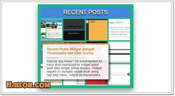 Recent Posts Widget Dengan Thumbnails Efek Tooltip