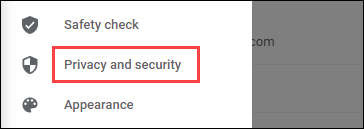 أدخل قسم الخصوصية والأمان