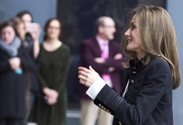 Queen Letizia of Spain attended ordinary meeting of the BBVA Foundation  Advisory Board at BBVA Headquarters. Letizia carried Malababa clutch, Hugo Boss jacket and Magrit pumps