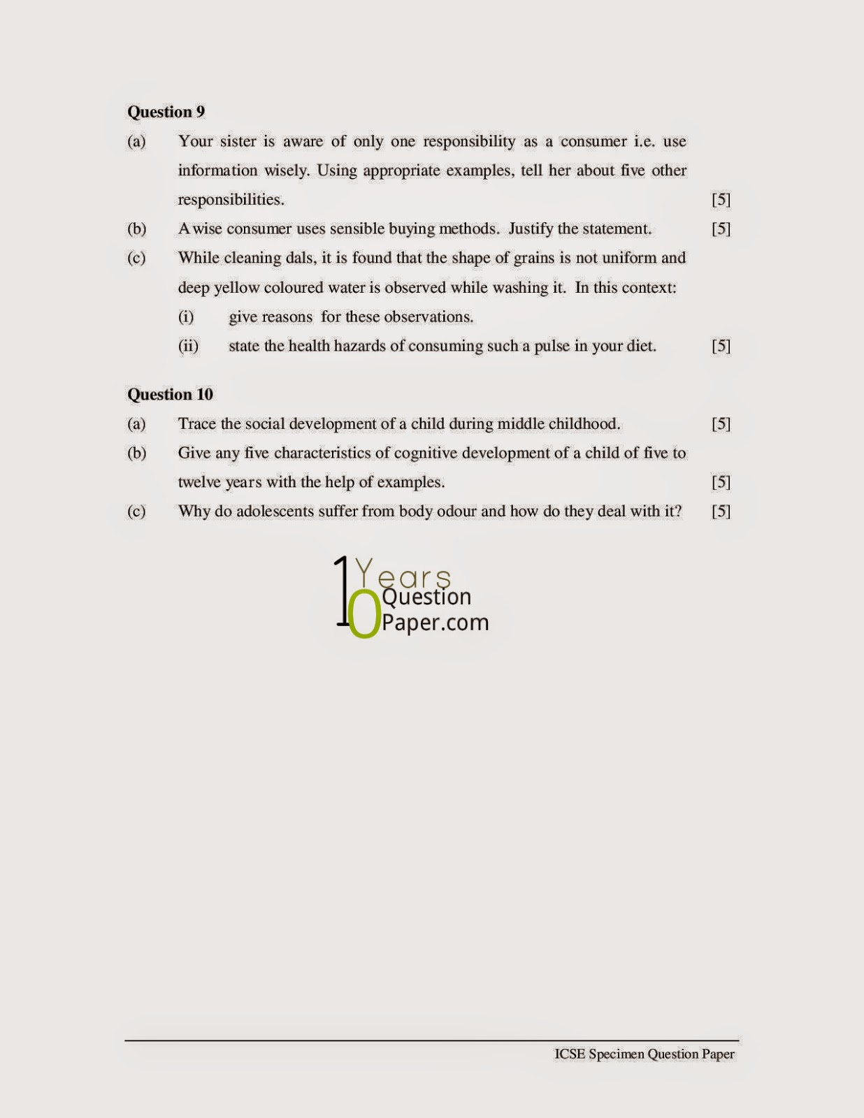 icse 2015 class 10th Home Science Specimen Board question paper