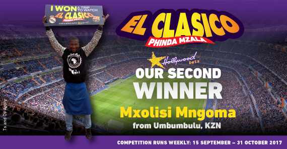 Meet the 2nd winner of Hollywoodbets' 2017/18 El Clasico promotion, Mxolisi Mngoma from KZN