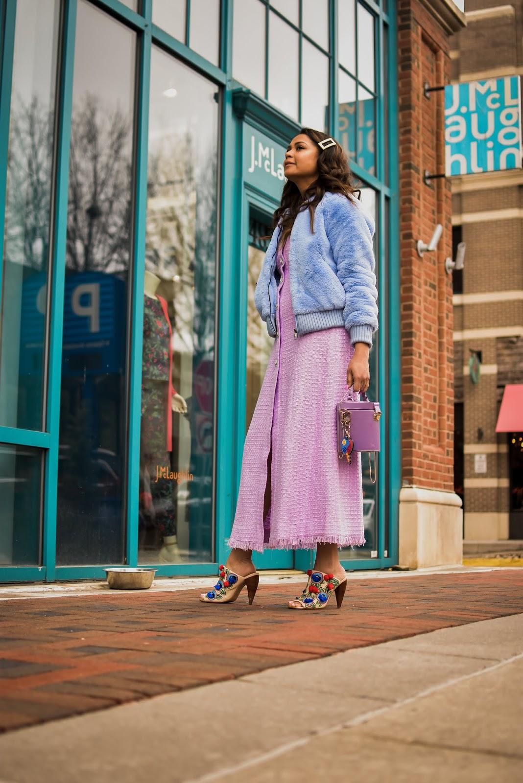 lilac zara dress, blue fur coat, DC blogger, tweed dress, tory burch pom pom mules, street style, drum bag, purple satin bag, barrel bag, myriad musings, saumya shiohare