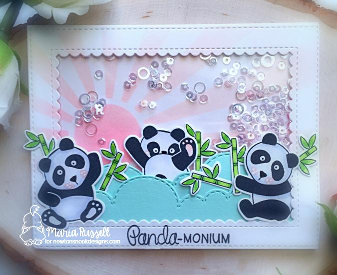 Panda Card by Maria Russell | Playful Pandas Stamp Set and Sunscape Stencil by Newton's Nook Designs #newtonsnook #handmade