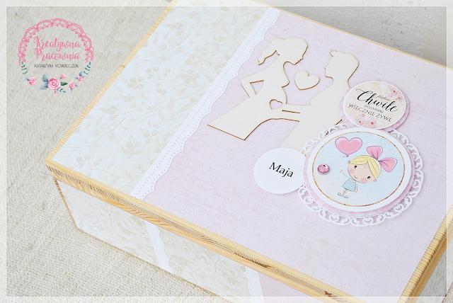 pudełko na pamiątki, ciąża, scrapbooking, handmade