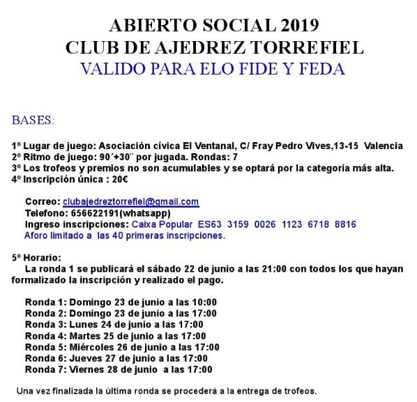 URGENTES / CANCELADO: 23-28 junio, Abierto Social C.A. Torrefiel