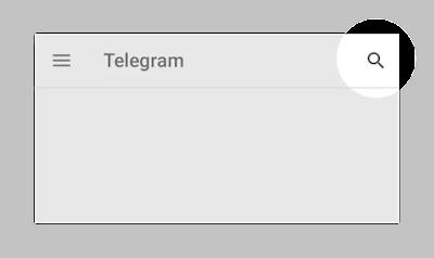 Nhấp vào biểu tượng kính lúp để tìm kiếm trên telegram