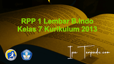 RPP B. Indo 1 Lembar Kelas VII Semester 2