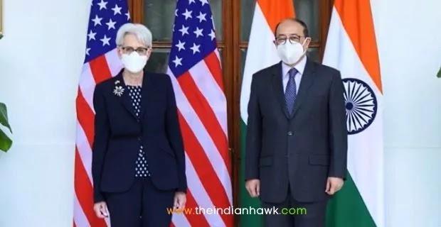 US Deputy Secretary of State Wendy Sherman and India's Foreign Secretary Harsh Vardhan Shringla