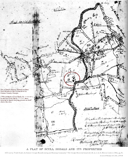 "Image of 1875 survey, ""Scull Shoals: An Extinct Georgia Manufacturing and Farming Community,"" The Georgia Historical Quarterly 48, no. 1, by E. Merton Coulter (1964), pg. 50."