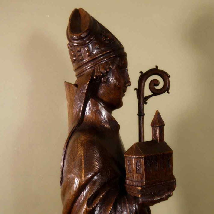 Santo Agostinho de Cantuária, escultura em madeira do século XIX