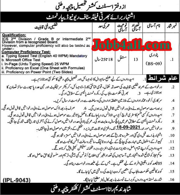 Assistant Commissioner Office Chichawatni 2021 Job in Pak
